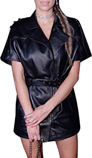 Royale Leather Bodycon Custom Celebrity Cowhide Real Leather Sexy Party and Club Women Dress