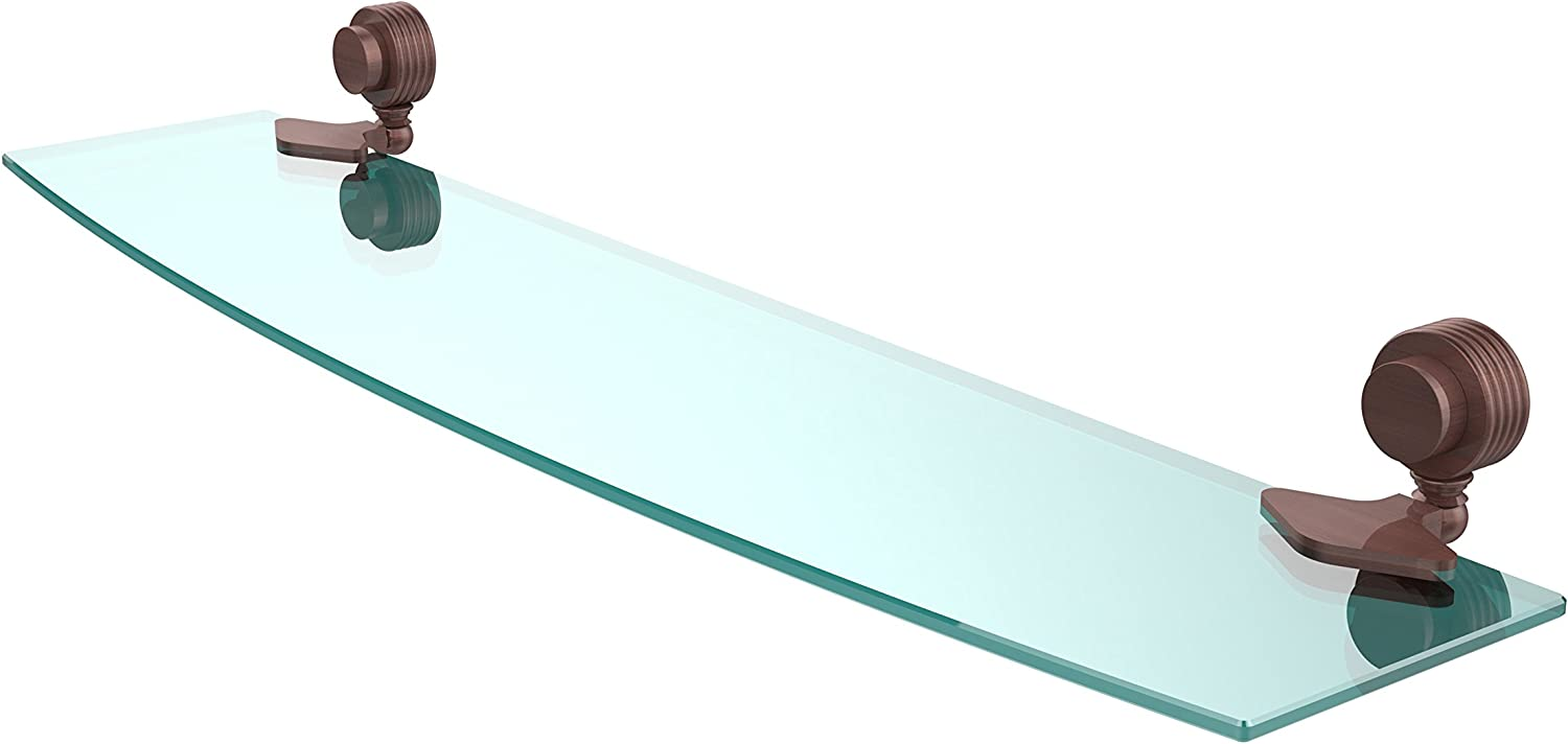 Allied Brass 433G 24-CA Venus Collection Beveled Glass Shelf 24-Inch by 5-Inch, Antique Copper