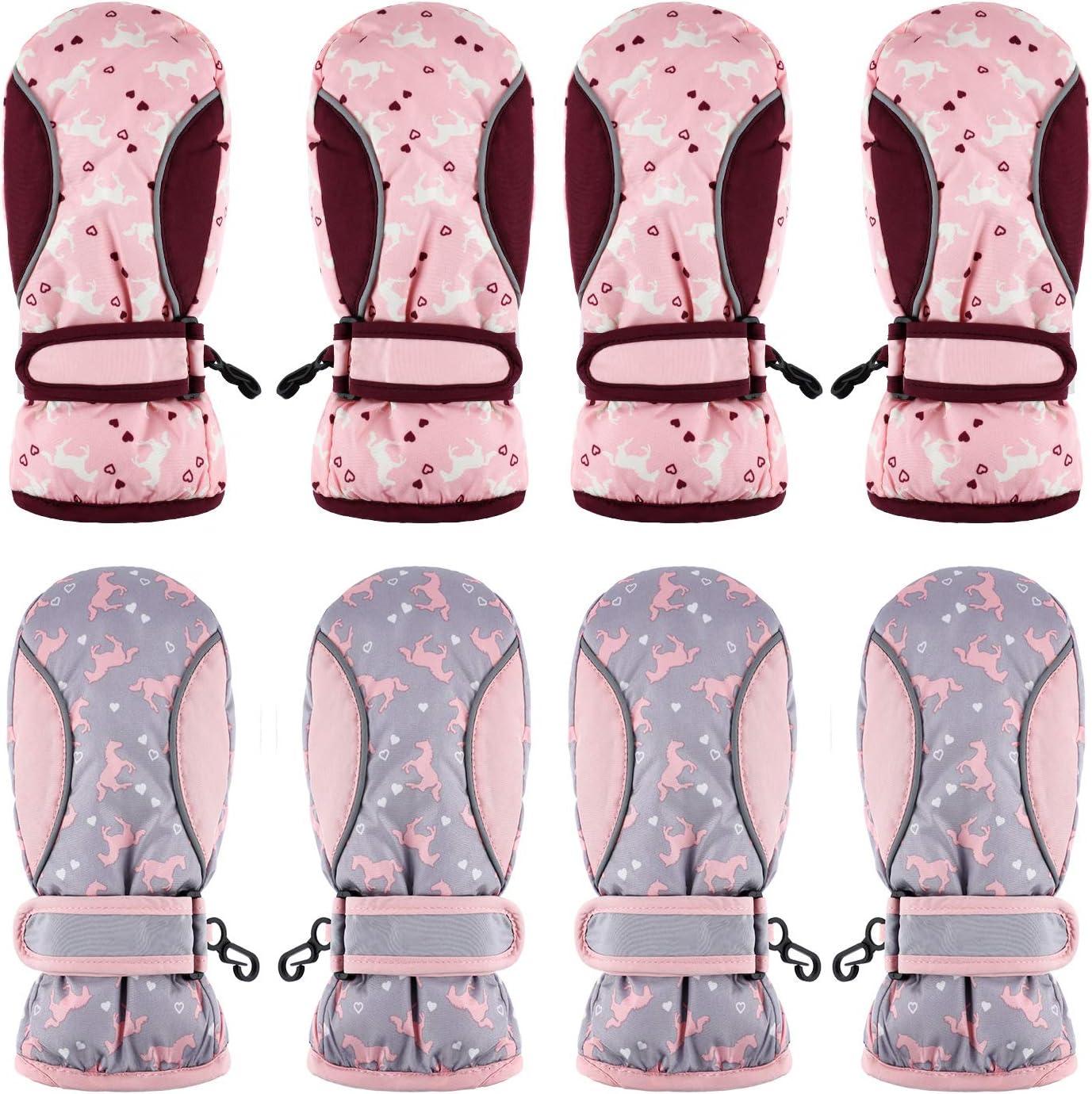 4 Pairs Kids Ski Mitten Gloves Waterproof Warm Snow Gloves for Winter Outdoor Activities