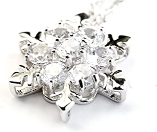 Dame GS Silver Tone Round Shaped Sparkling Sea Blue Crystal Snowflake Pendant Necklace Fashion Jewelry for Women & Girls