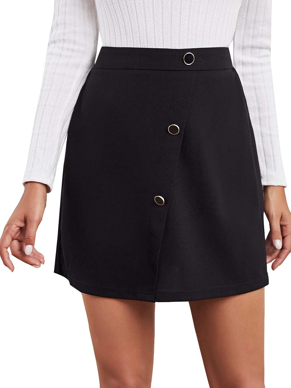 Milumia Women Casual Elastic High Waist Short Skirt A Line Button Detail Solid Skirt