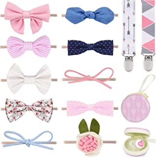 Baby Girl Headbands and Bows, for Infant Newborn and Toddler Nylon Hairbands + 2 Pacifier Clips + Pacifier Case Baby Shower/Registry Gift Hair Accessories by Dodo Babies