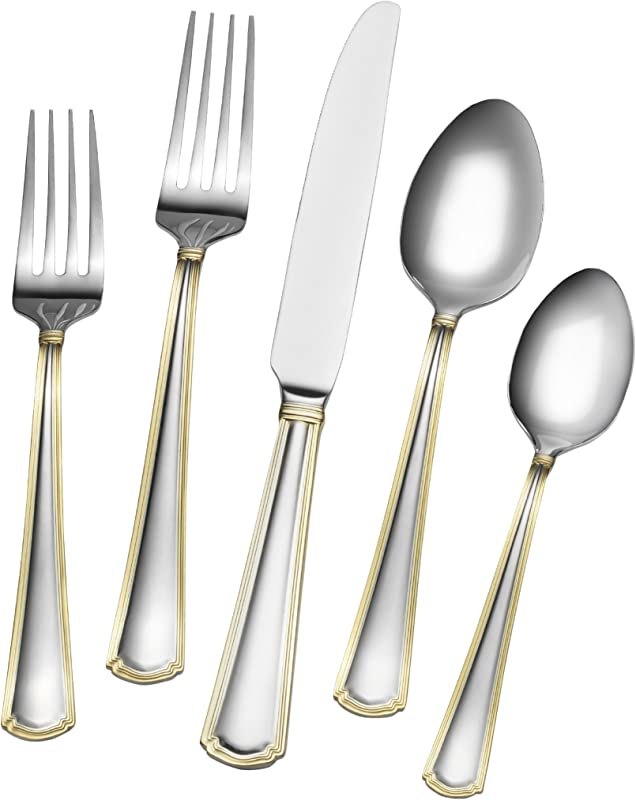 Gourmet Basics By Mikasa 5189120 Universal Gold 20 Piece Stainless Steel Flaware Set Service For 4