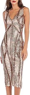 Yamycka Summer V-Neck Sleeveless Geometric Sequins Dress for Women