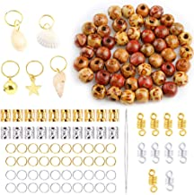 PP OPOUNT 126 Pieces Dreadlocks Beads DIY Hair Braid Accessories with 10mm Natural Painted Wood Beads, Dreadlocks Beads, Braid Rings Hair Hoops and Hair Clips for Hair Decoration