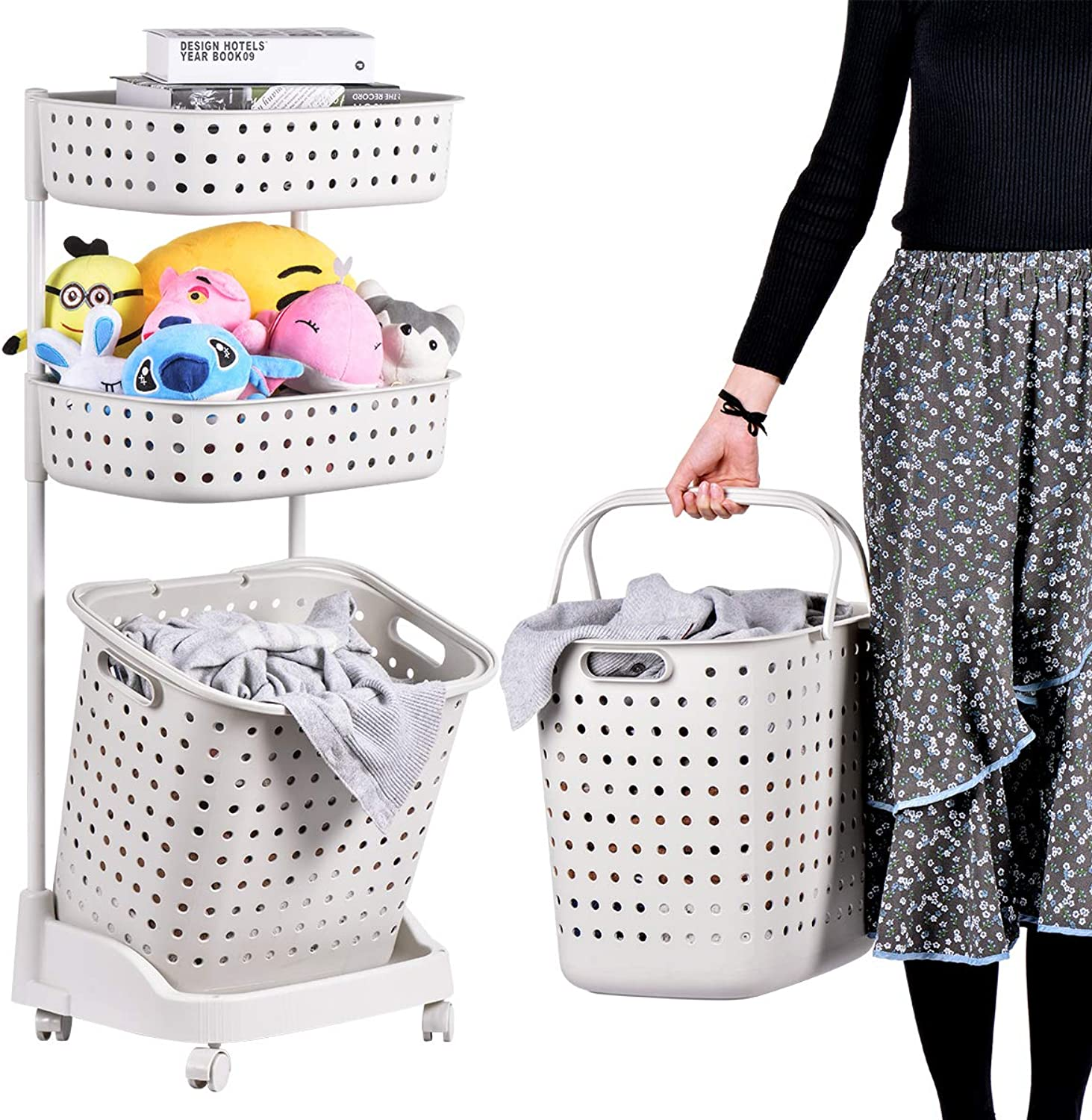 Laundry Basket With Wheel Rolling Laundry Sorter 3-Tier Basket Stand With 6 Side Hooks For Kitchen Bathroom Trolley Dirty Clothes Bag Washing Bin Home Office School Beauty Salon Utility Organizer Cart