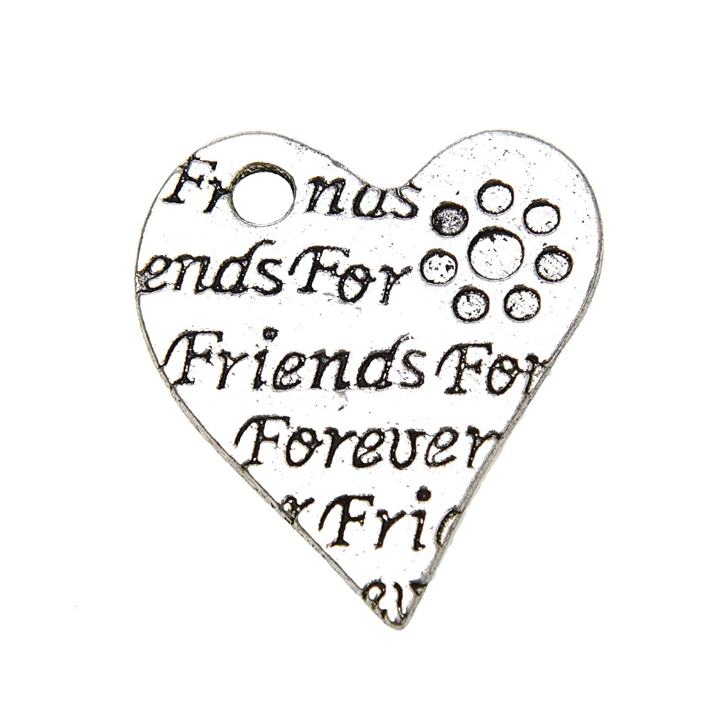 Monrocco 20 pcs Forever Friends Heart Charms in Bulk for Jewelry Making DIY 27x14mm