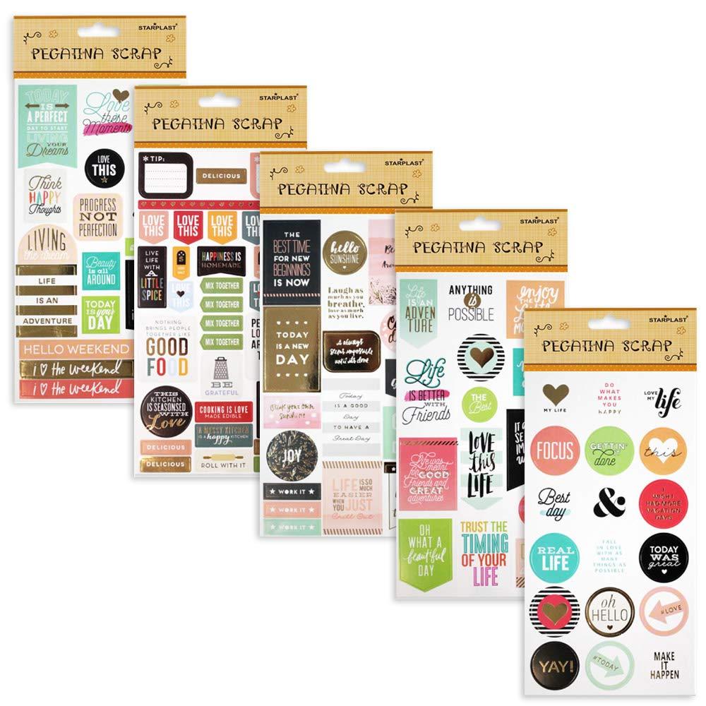 131395 - Pack de 10 láminas de pegatinas adhesivas scrapbooking, 10 diseños diferentes: Amazon.es: Hogar