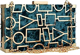 Women Luxury Velvet Evening Bag Designer Geometric Clutch Purses with Exquisite Metal Hollow