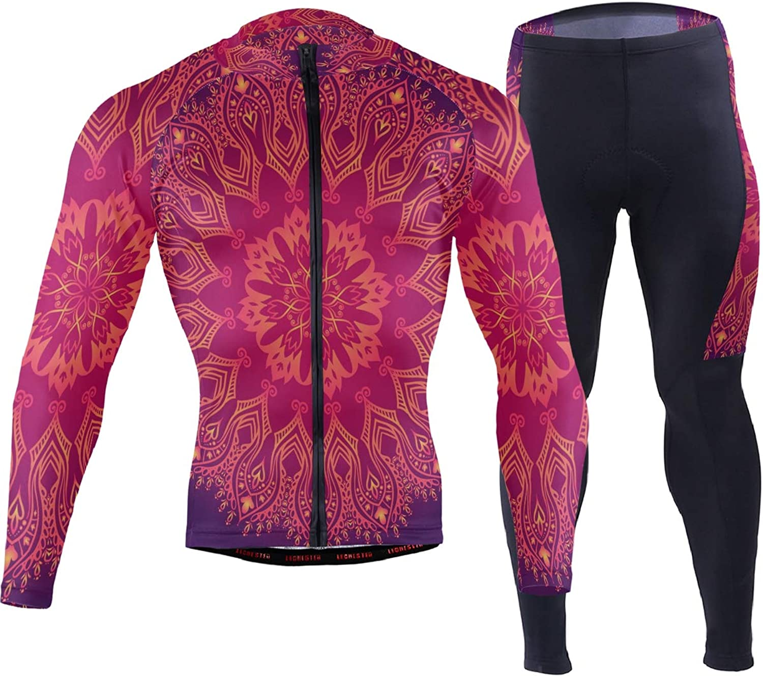 FAJRO Purple Abstract Pattern with Lace Floral Ornament Sportswear Suit Bike Outfit Set Breathable Quick Dry 3D Padded Pants