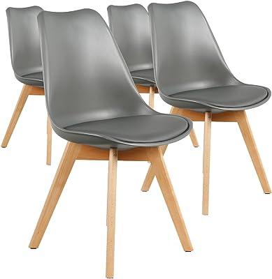 Menzzo Lot de 4 chaises Style scandinave Bovary Gris, Polypropylène, 43x48x82 cm