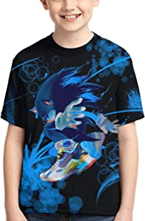 WMDYFYJ Kids Sonic The Hedgehog 3D Short Sleeve Shirts Casual Graphics Tops Tee for Girls and Boys