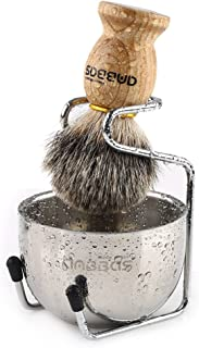 Shaving Set, 3in1 Pure Badger Hair Shaving Brush Natural Solid Wood Handle and Stainless Steel Shaving Stand with Shaving Bowl Dia 3.2 inches for Men Wet Shaving by Anbbas
