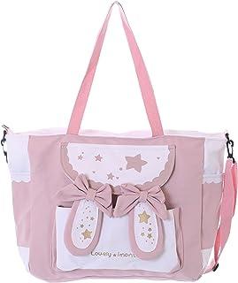 LB-7054-2 Stofftasche rosa weiß Sterne niedlich Schleife Herz Hasenohren Shopper groß Doppel Griff Umänge Trage Damen Tasche