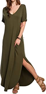 Meaneor Women's Summer V Neck Puffy Short Sleeve Side Slit Long Oversized Split Maxi Dresses with Pockets