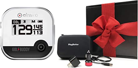 $149 » GolfBuddy aim V10 (Black/Chrome) Gift Box Bundle | +PlayBetter Car/Wall Charging Adapters and PlayBetter Protective Hard C...