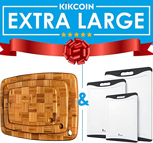 popular Extra Large Cutting wholesale Board Black (Set of 3) and Bamboo Wood Cutting discount Board Set Butcher Block for Kitchen by Kikcoin outlet online sale