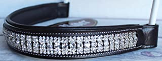 St. Charles Horse English Black Leather Padded Polo Bridle Browband w/Crystals 80992