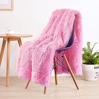LOCHAS Super Soft Shaggy Faux Fur Blanket, Plush Fuzzy Bed Throw Decorative Washable Cozy..