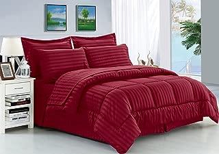 Elegant Comfort Wrinkle Resistant - Silky Soft Dobby Stripe Bed-in-a-Bag 8-Piece Comforter Set -Hypoallergenic - King Burgundy