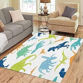 Pinbeam Area Rug Green Dino Pattern for Original Rex Dinosaur Boys Home Decor Floor Rug 3' x 5' Carpet