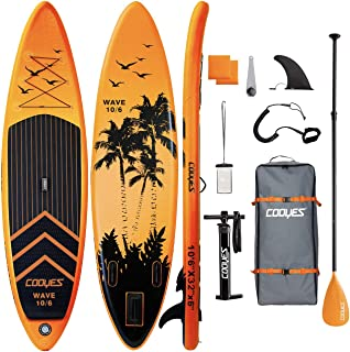 """Cooyes Inflatable Stand Up Paddle Board 10'6"""" with Free Premium SUP Accessories & Backpack, Non-Slip Deck. Bonus Waterproo..."""