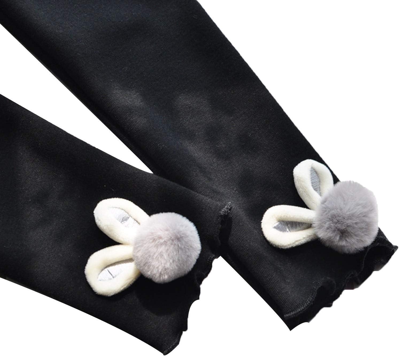 ZHANGYAN Pantyhose Girls' Fleece Lining Warm Leggings, Thickened Children's Pants (Color : Black, Size : 7yards)