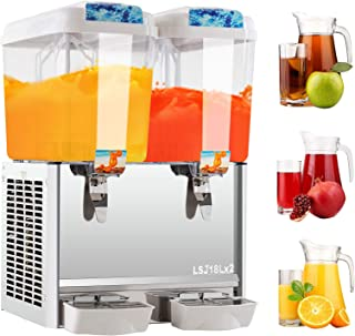 Commercial Cold Beverage Dispenser - 9.5 Gallon Juice Dispenser Machine for Cold Drink, 4.75 Gallon per Food-grade Tank, Stainless Steel, 280W