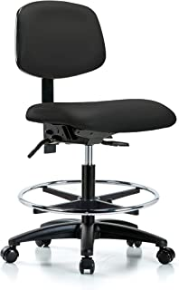 Ergonomic Chair for Medical Offices, Labs, and Dentists with Wheels - Bench Height, Black