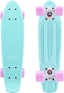 Playshion Complete 22 Inch Mini Cruiser Skateboard for Beginner with Sturdy Deck