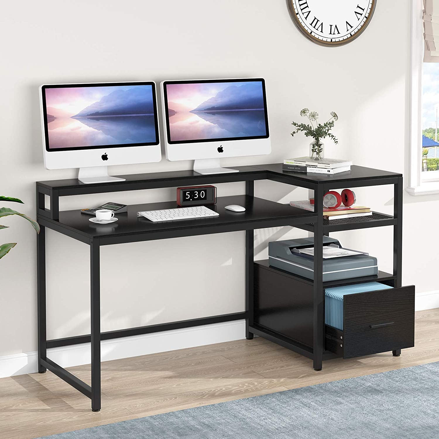 TIYASE Computer Desk SALENEW very popular! with Hutch and Storage Lar inch 59 Shipping included Shelves