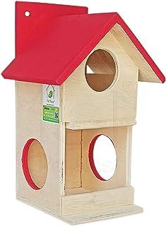 PetNest DECO9 Wood Outdoor Decor Bird House Box and Bird Feeder for Sparrow and Garden Birds