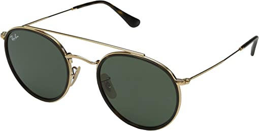 Top Havana on Shiny Gold Frame/Green Lens