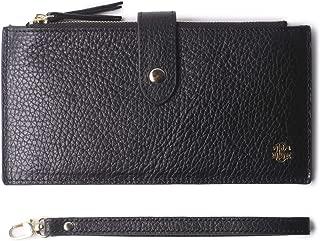 Women's RFID Blocking Leather Zip Wallet Wristlet Credit Card Holder Purse with Wrist Strap