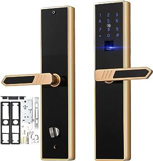 Happybuy 4-Way Electronic Smart Door Lock Biometric Keyless Lock Fingerprint Touch Screen Password IC Cards and Keys Unlocking Ways Home Office Entry Door Security Reversible Handle Gold and Black