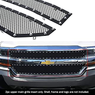 APS Compatible with 2016-2018 Chevy Silverado 1500 Stainless Steel Black Rivet Stud Mesh Grille CL6360H