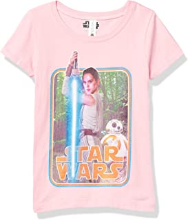 Fifth Sun Star Wars Awakens Force Ready Girl's Solid Crew Tee, Light Pink, X-Small