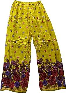 Odishabazaar Women's Regular Fit Floral Printed Harem Pant Yellow