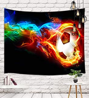 NYMB Sports Football Tapestry Wall Hanging, Abstract Soccer Ball in Fire and Ice Wall Tapestry Art for Home Decorations College Dorm Decor Living Room Bedroom Bedspread(60'' X 40'')