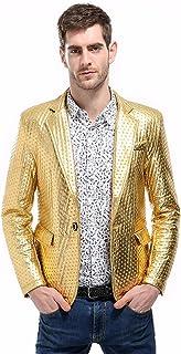 Mens Casual Blazer Slim Fit Suits Jacket PU One Button Wear Coats Goosun Black Yellow Silver Stylish Blazer Suit Wedding C...