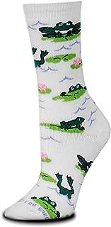 Froggy Play A/O White Slipper Sock,White/Grey/Black/Red,Medium 6-11 Womens 5-10 Mens