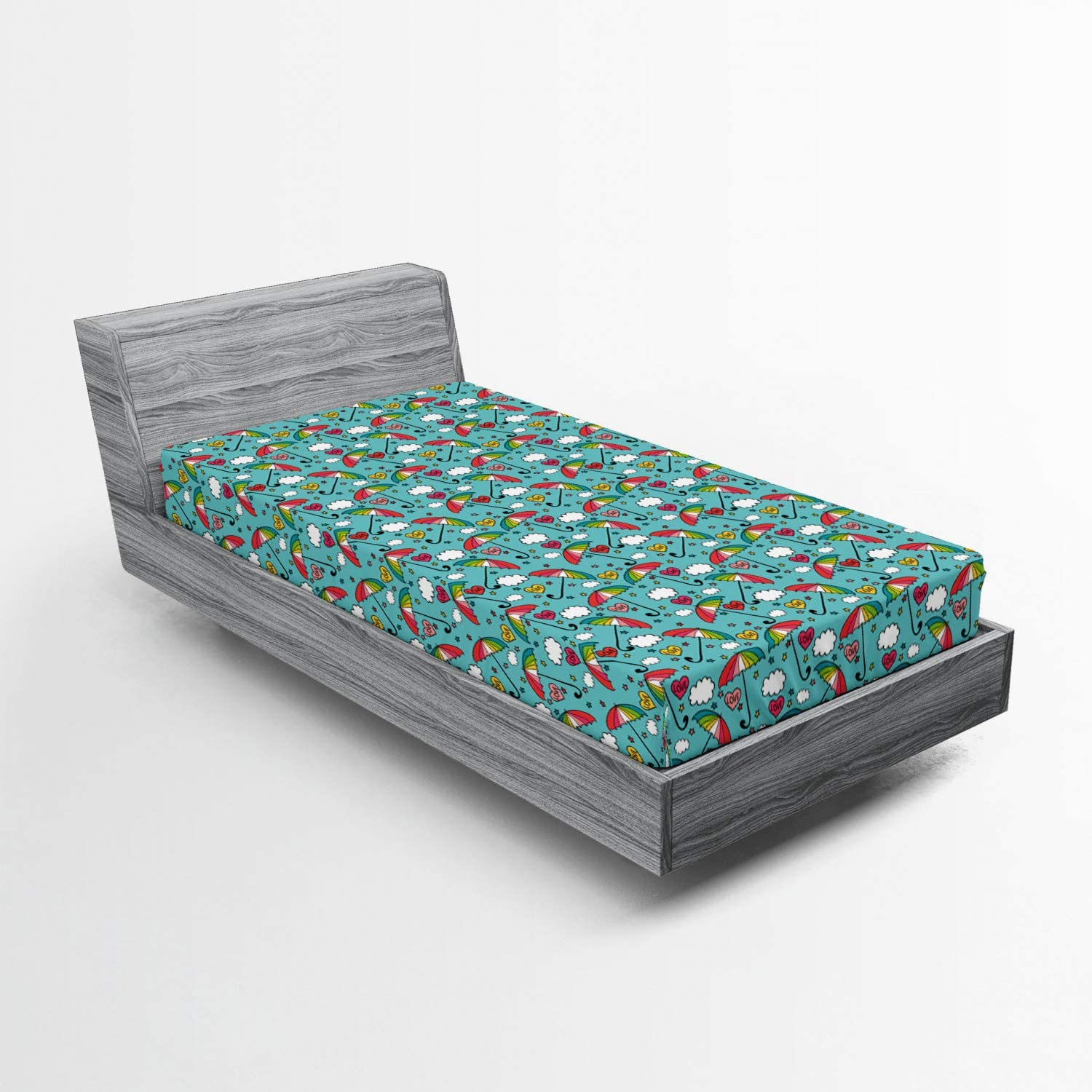 Lunarable Cartoon Fitted Sheet Composition Spring new work one after another Umb Romantic Love of OFFicial shop
