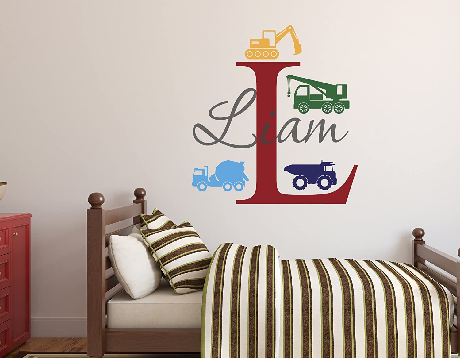 Custom Trucks Financial sales sale 35% OFF Boy Name Wall Decal N - Construction Decals