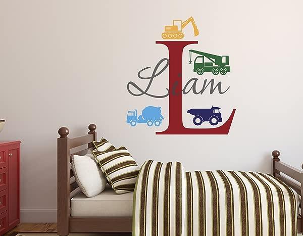 Custom Trucks Boy Name Wall Decal Construction Wall Decals Nursery Wall Decals Trucks Decal Vinyl Baby Nursery Decor 22Wx24H