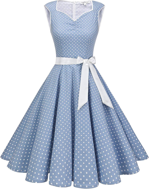 Gardenwed Women's 50s 60s Retro Vintage V-Neck Sleeveless A-Line Swing Rockabilly Cocktail Dress