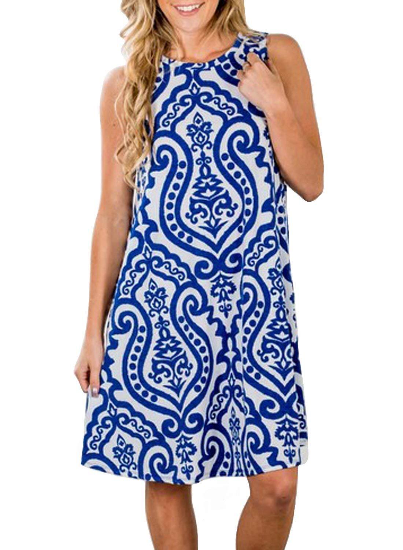 Available at Amazon: Misyula Style Women's Short Sleeve Sleeveless Sundress Floral Knee Length Dress with Pockets