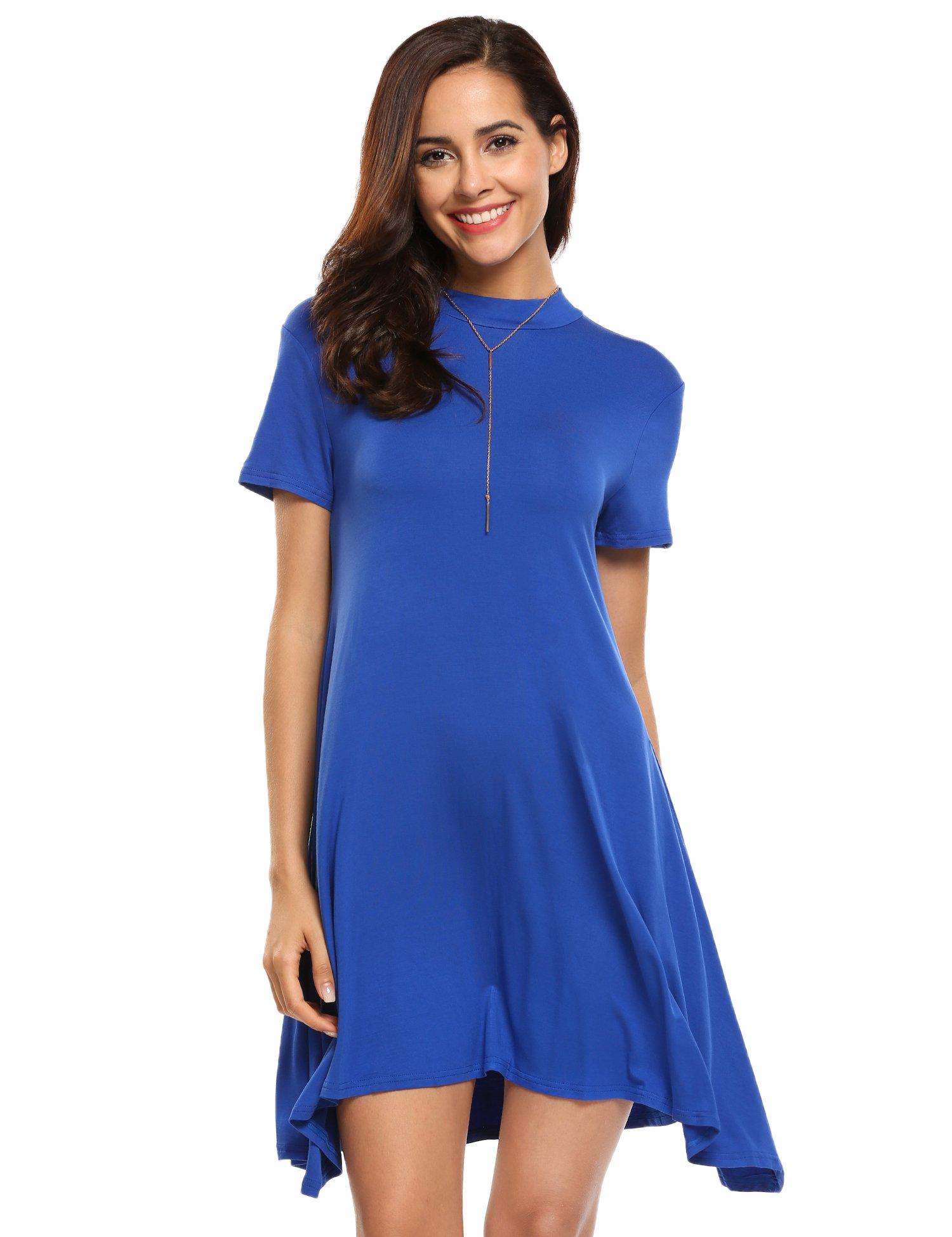 Available at Amazon: Beyove Women Casual Long Sleeve Handkerchief Hem Striped Tunic Loose T Shirt Dress