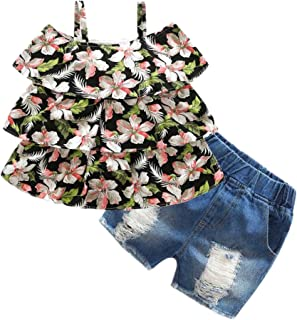 000243b9336a Beide Girls Summer Outfits 2 Piece Jean Shorts and Floral Tank Tops