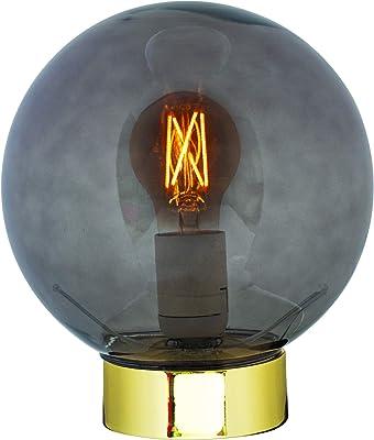 Luminária De Mesa Em Vidro E Metal Mart Fumê/dourado