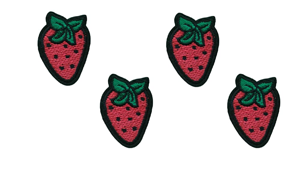4 pieces RED STRAWBERRY Iron On Patch Applique Fruit Food Scrapbooking Motif Children Decal 1.7 x 1.2 inches (4.3 x 3 cm)